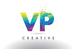 Vector del diseño de los triángulos de VP V P Colorful Letter Origami Fotografía de archivo