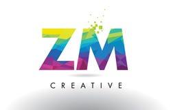 Vector del diseño de los triángulos de ZM Z M Colorful Letter Origami Imagen de archivo