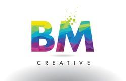 Vector del diseño de los triángulos del BM B M Colorful Letter Origami Fotografía de archivo libre de regalías