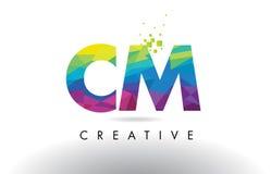 Vector del diseño de los triángulos del cm C M Colorful Letter Origami Imágenes de archivo libres de regalías