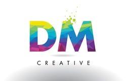 Vector del diseño de los triángulos del DM D M Colorful Letter Origami Imagenes de archivo