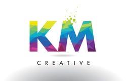 Vector del diseño de los triángulos del kilómetro K M Colorful Letter Origami Fotografía de archivo