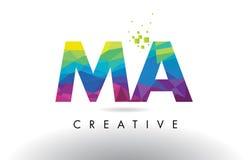 Vector del diseño de los triángulos del mA M A Colorful Letter Origami Foto de archivo libre de regalías