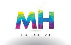Vector del diseño de los triángulos del Mh M H Colorful Letter Origami Imagen de archivo