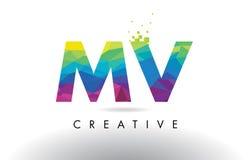 Vector del diseño de los triángulos del milivoltio M V Colorful Letter Origami Foto de archivo