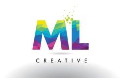 Vector del diseño de los triángulos del ml M L Colorful Letter Origami Fotografía de archivo libre de regalías