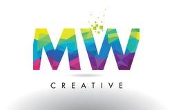 Vector del diseño de los triángulos del MW M W Colorful Letter Origami Imágenes de archivo libres de regalías