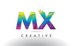 Vector del diseño de los triángulos del MX M X Colorful Letter Origami Fotografía de archivo libre de regalías
