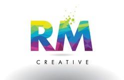 Vector del diseño de los triángulos del RM R M Colorful Letter Origami Fotografía de archivo libre de regalías