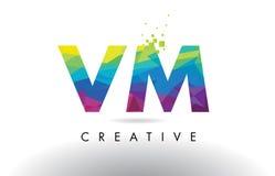 Vector del diseño de los triángulos del VM V M Colorful Letter Origami Foto de archivo