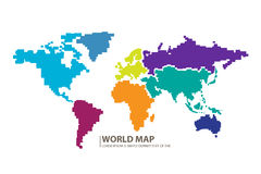 Vector del diseño del mapa del mundo de los pixeles Foto de archivo libre de regalías