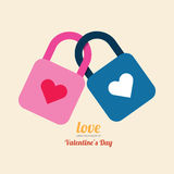 Vector del diseño del símbolo de la cerradura del corazón de la tarjeta del día de San Valentín Fotografía de archivo libre de regalías