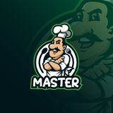 Vector del diseño del logotipo de la mascota del cocinero con el estilo moderno del concepto del ejemplo para la impresión de la  stock de ilustración