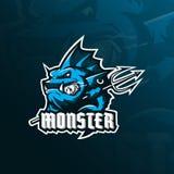 Vector del diseño del logotipo de la mascota de los pescados del monstruo con el estilo moderno del concepto del ejemplo para la  ilustración del vector