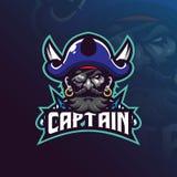 Vector del diseño del logotipo de la mascota de los piratas del capitán con el estilo moderno del concepto del ejemplo para la im stock de ilustración
