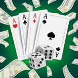 Vector del diseño del póker del casino Tarjetas del póker, jugando tarjetas de juego Concepto del ganador de Lucky Night VIP Ilus Imagen de archivo