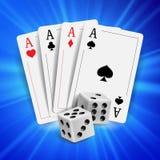Vector del diseño del póker del casino Tarjetas del póker, jugando tarjetas de juego Casino en línea Lucky Background Concept for Imagen de archivo libre de regalías