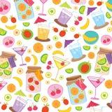 Vector del diseño del envoltorio para regalos de la historieta de Juice Drink Cute de la fruta Fotografía de archivo libre de regalías