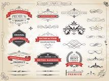 Vector del divisor del ornamento de la etiqueta del vintage Imagenes de archivo