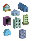 Vector del edificio y de las casas Fotografía de archivo libre de regalías
