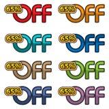 Vector del ejemplo del 65% apagado las banderas del descuento diseñan la plantilla, iconos del app, ejemplo del vector Ilustración del Vector