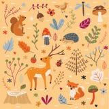 Vector del ejemplo de Autumn Forest Animals Set Imagenes de archivo