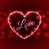 Vector del ejemplo del alambre de la luz de la tarjeta del amor de la tarjeta del día de San Valentín Fotografía de archivo libre de regalías