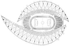 Vector del ejemplo del estadio de fútbol del fútbol Imágenes de archivo libres de regalías
