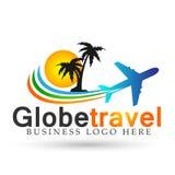 Vector del elemento del icono del logotipo del sunmmer de la playa del World Travel del globo en el fondo blanco stock de ilustración