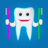 Carácter del diente que sostiene el cepillo de dientes Imagen de archivo