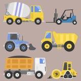 Vector del equipo de la máquina del camino del motor del vehículo del transporte del camión de reparto de la construcción Imagen de archivo libre de regalías