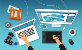 Vector del espacio de trabajo creativo moderno de un diseñador gráfico, profesional de la oficina del retoucher de la imagen libre illustration