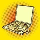 Vector del estilo del arte pop de la caja de la pizza ilustración del vector