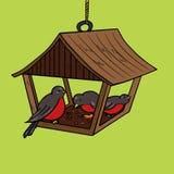 Vector del estilo del arte pop del alimentador del pájaro ilustración del vector