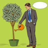 Vector del estilo del arte pop del árbol del dinero del agua del hombre de negocios Fotos de archivo libres de regalías