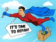 Vector del estilo del cómic del hombre y de la caja de herramientas del super héroe ilustración del vector