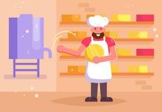Vector del fabricante del queso historieta Arte aislado plano stock de ilustración