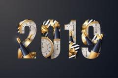 Vector del fondo de la Feliz Año Nuevo 2019 ilustración del vector