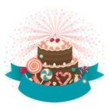 Vector del fondo de la torta del feliz cumpleaños stock de ilustración