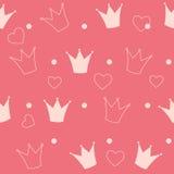 Vector del fondo de princesa Crown Seamless Pattern Fotografía de archivo libre de regalías