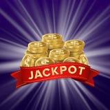 Vector del fondo del bote Tesoro de oro del casino Bandera grande del triunfo para el casino en línea, juegos de tarjeta, póker,  Fotos de archivo libres de regalías