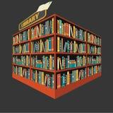 Vector del fondo del estante de librería de la biblioteca Imagen de archivo libre de regalías