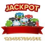 Vector del fondo del ganador del bote Póker de juego Chips Illustration Para el casino en línea, juegos de tarjeta, póker, ruleta Imágenes de archivo libres de regalías