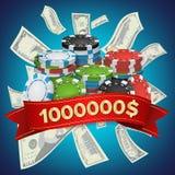 Vector del fondo del ganador del casino Cinco virutas de póker coloreadas Ejemplo del concepto del premio en metálico del efectiv Imagen de archivo