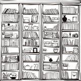 Vector del fondo del garabato del estante de librería de la biblioteca libre illustration