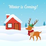 Vector del fondo del invierno que viene con el reno vestido lindo en el frente del ejemplo nevoso de la casa Tarjeta de felicitac stock de ilustración