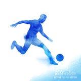 Vector del futbolista del Watercolour Fotografía de archivo libre de regalías