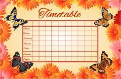 Vector del gerbera y de las mariposas del calendario Foto de archivo libre de regalías