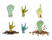 Vector del gesto de mano del zombi de Halloween fijado - la historieta realista aisló el ejemplo Imagen del gesto de mano asustad Imagenes de archivo