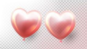Vector del globo del coraz?n Globo realista transparente 3D en la forma de corazón 8 de marzo diseño del día Objeto del vuelo Ilu ilustración del vector